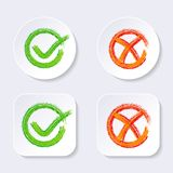 Vector check mark icons on buttons Stock Photos