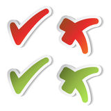 Vector check mark stickers Royalty Free Stock Images