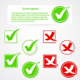 Vector check mark stickers and banner.  Stock Photo