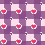 Vector checkered with hearts in circles pattern stock illustration