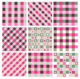 Vector checkered seamless patterns. Royalty Free Stock Photo
