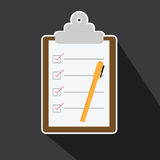 Vector of checklist task in long shadow style. Stock Images