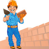 Vector Cheerful bricklayer builder. Cheerful mason in the orange helmet with brick and trowel in hand, against a background of brick wall Stock Photography