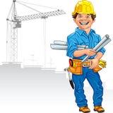 Vector Cheerful engineer builder Royalty Free Stock Photos