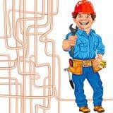 vector Cheerful locksmith plumber Stock Image