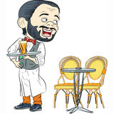 Vector Cheerful waiter with a tray in cafe Stock Images