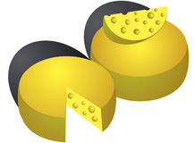 Vector cheese isolated on white Royalty Free Stock Photography