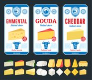 Vector cheese labels and different types of cheese detailed icons royalty free stock photo