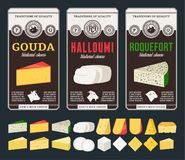 Vector cheese labels and different types of cheese detailed icons stock photos