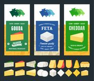 Vector cheese labels and different types of cheese detailed icons stock photo