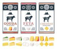 Vector cheese labels and different types of cheese detailed icons royalty free stock image