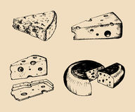 Vector cheese set. Vintage hand drawn parmesan, cheddar etc illustrations on black background. Dairy products sketches. Vector cheese set. Vintage hand drawn Stock Photo