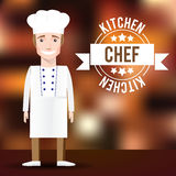 Vector Chef character on blurred background. Royalty Free Stock Photo