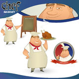 Vector Chef - French restaurant mascot. Royalty Free Stock Image