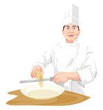 Vector of chef grating cheese. Royalty Free Stock Images