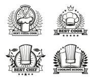 Vector chef hat labels template for restaurant menu design Stock Photos