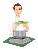 Vector of chef holding plate of prepared food. Royalty Free Stock Image