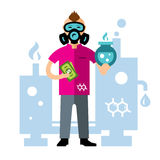 Vector Chemical laboratory. Flat style colorful Cartoon illustration Stock Photo