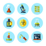 Vector chemistry icon set in modern flat style. Stock Images