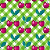 Vector Cherry berry on green a checkered vichy background Seamless pattern. Cherry berry on green a checkered vichy background. Vector Seamless pattern stock illustration