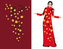 Vector Cherry blossom on long dress for happy chinese new year.  royalty free illustration