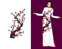 Vector Cherry blossom on long dress for happy chinese new year.  vector illustration