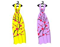 Vector Cherry blossom on long dress for happy chinese new year.  stock illustration