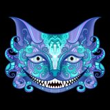 Vector Cheshire Cat Grin. Isolated Fictional Animal On Black Background Stock Photo