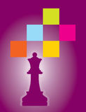 Vector chess. An illustration of a chess board with the king colourful background Royalty Free Stock Images
