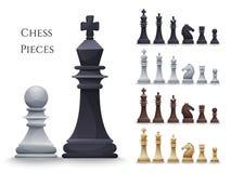 Vector Chess Figures big set. Black and white. Illustration Stock Image