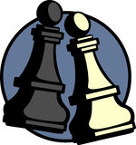 Vector chess game pawn pieces. Vector illustration of two chess game pawn pieces Royalty Free Stock Images