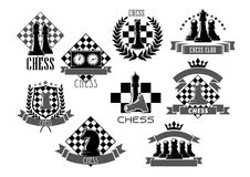 Vector chess icons for game club contest. Chess club icons for chessplayer game contest or competition with chessman pieces on checkered shield. Vector symbols Stock Photo