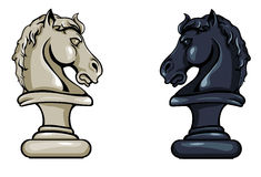 Vector Chess Knight - Black and White Variations. On White Background Royalty Free Stock Photos