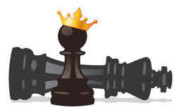 Vector chess pawn with crown and defeated king. Vector chess pawn with golden crown and defeated king stock illustration