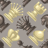 Vector Chess piece seamless pattern. Royalty Free Stock Images