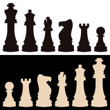 Vector chess pieces. Vector set of black and white chess pieces Royalty Free Stock Photography