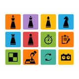 Vector Chess pieces black icons set Stock Image