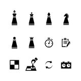 Vector Chess pieces Black icons set Stock Photography