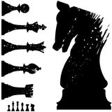 Vector chess pieces in grunge style