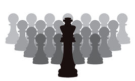 vector chess pieces of a king and pawns Royalty Free Stock Photos