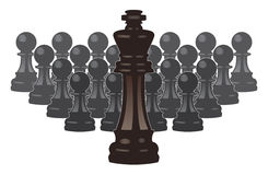 Vector chess pieces of a king and pawns Stock Image