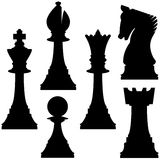 Vector Chess Set. Vector silhouettes of various chess pieces Royalty Free Stock Photo