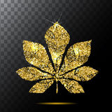 Vector chestnut leaf or Red plate emblem logo, illustration. gold glitter. EPS Royalty Free Stock Photo