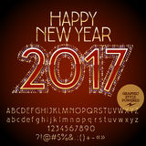 Vector chic glitter Happy New Year 2017 greeting card. With set of letters, symbols and numbers. File contains graphic styles Stock Photos