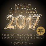 Vector chic glitter Merry Christmas 2017 greeting card Royalty Free Stock Photos