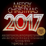 Vector chic glitter Merry Christmas 2017 greeting card Royalty Free Stock Images