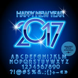 Vector chic light blue Happy New Year 2017 greeting card. With set of letters, symbols and numbers. File contains graphic styles Royalty Free Stock Photo