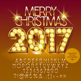 Vector chic light up Merry Christmas 2017 greeting car Royalty Free Stock Images