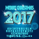 Vector chic neon Merry Christmas 2017 greeting card Stock Photo