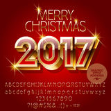 Vector chic red Happy New Year 2017 greeting card Stock Photos